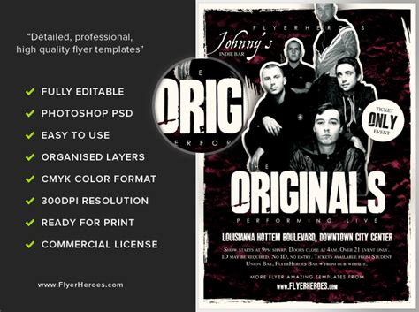 originals indie band flyer template flyerheroes
