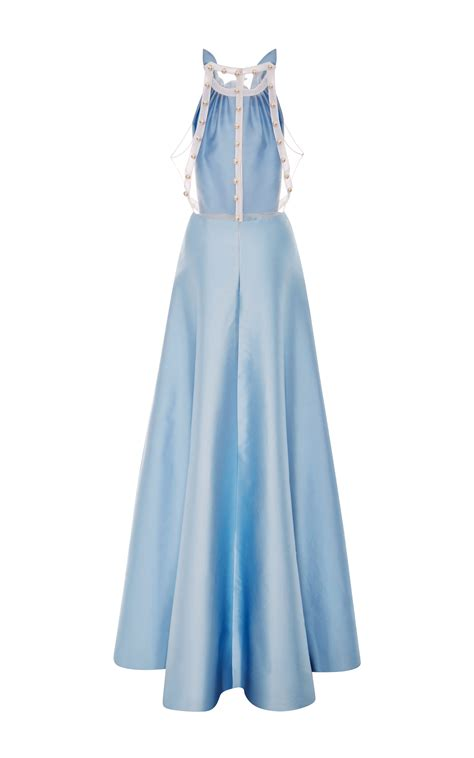 light blue collared dress honor light blue mikado long dress with ruffle collar in