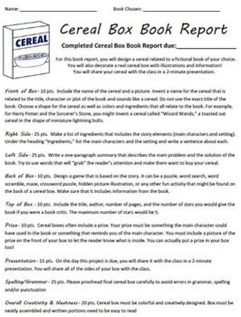 cereal box book report directions cereal box book report directions rubric exle