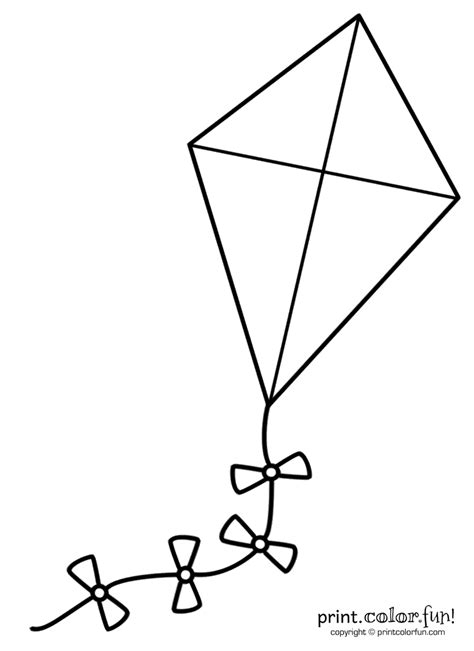 big kite coloring page print color fun