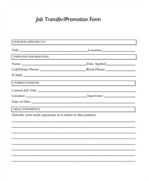 employee promotion form template employee of the month nomination form employee free