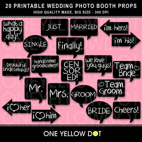 wedding photo booth props templates instant wedding photo booth props by oneyellowdot