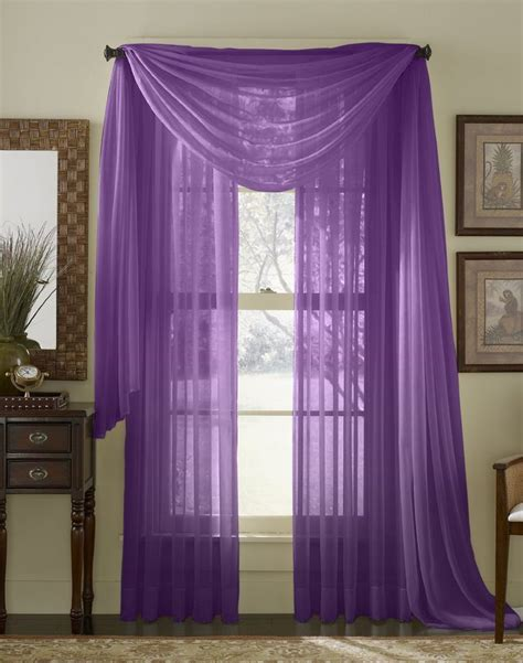 95 long curtains com 95 quot long sheer curtain panel purple