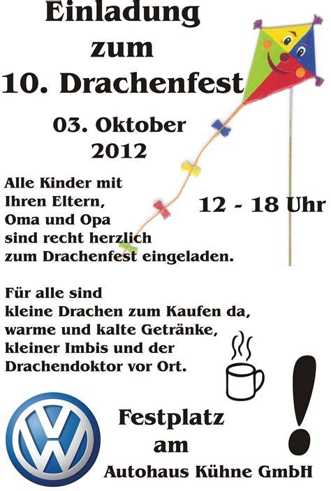 Musterbrief Danke Für Die Einladung Drachenfest In 03253 Doberlug Kirchhain