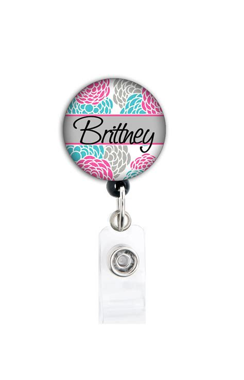 Natho Name Tag Holder retractable id badge holder personalized name blossom