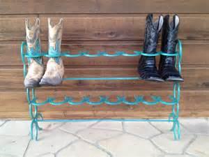 teal horseshoe boot rack 8 pair by sarahsweldedwhatnots on