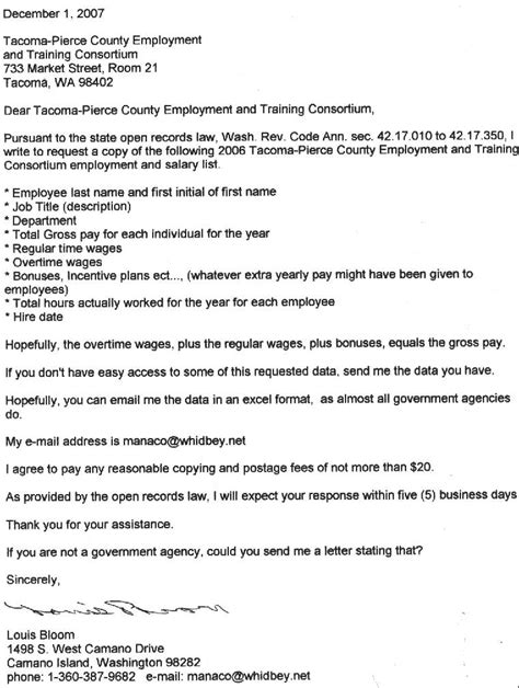 Response Letter Exercises 2007 Tacoma County Employment And Consortium Employees List
