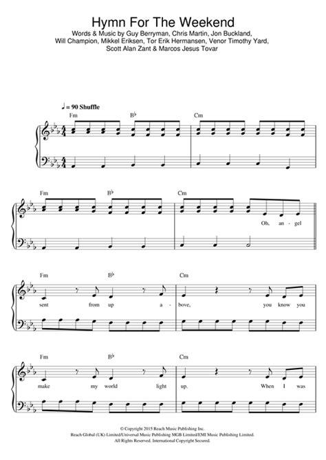 coldplay hymn for the weekend chord coldplay hymn for the weekend sheet music