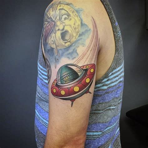 flying saucer tattoo original like colored ship on