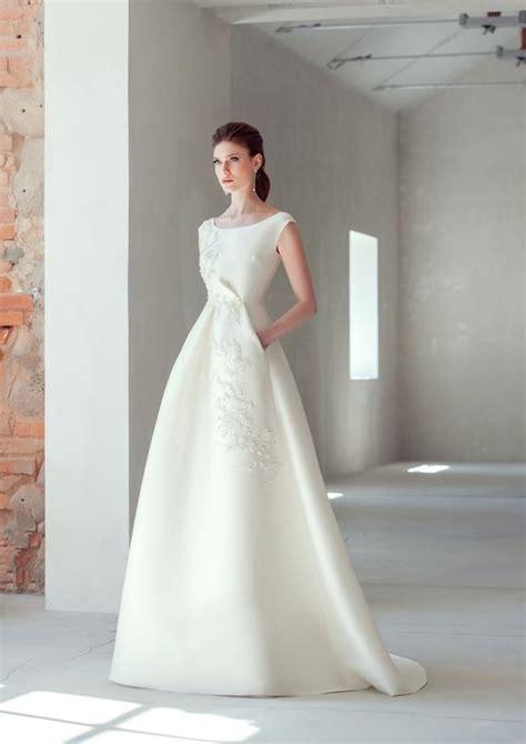 classic elegant boho wedding dress simple pocket