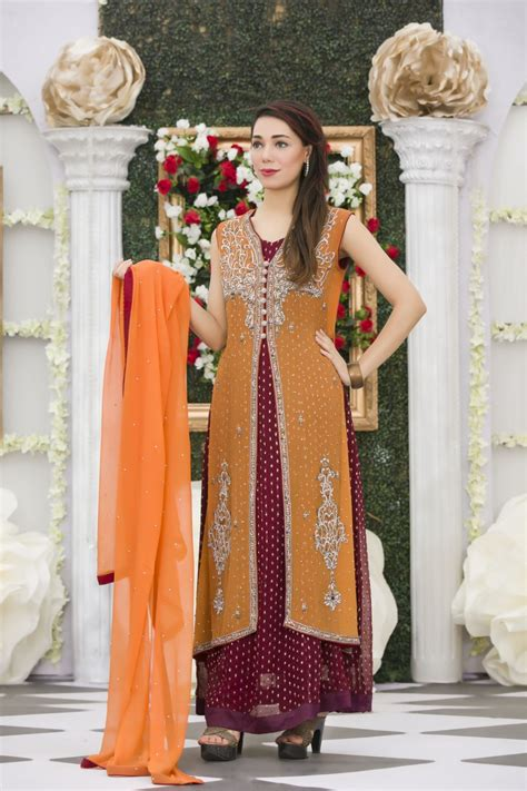 Dress Simple Motif Orange exclusive orange maroon mehndi dress exclusive
