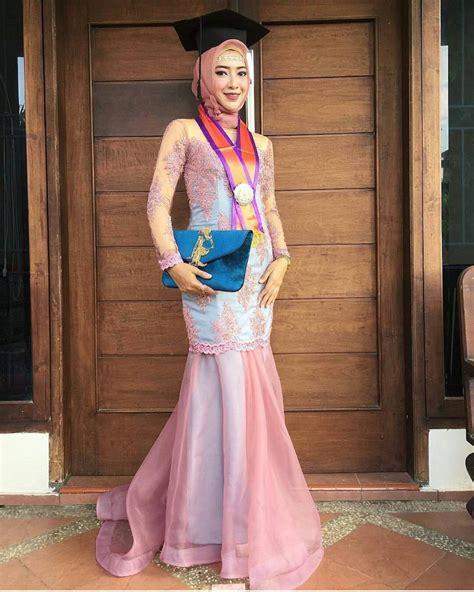 Kebaya Dusty kebaya wisuda kebaya wisuda muslim berbahan brokat warna dusty pink dengan torso warna