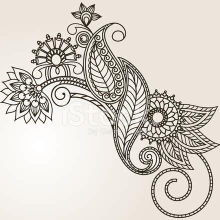 handgezeichnete abstrakte henna mehndi blumen und paisley