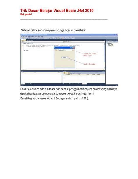 tutorial visual basic 2010 untuk pemula tutorial trik dasar belajar visual basicnet 2010
