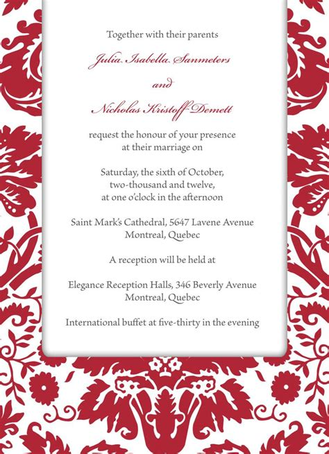 red wedding invitation templates cloudinvitation com