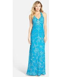 adrianna papell embellished draped mesh gown adrianna papell embellished draped mesh gown in blue ink