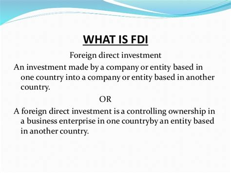 Foreign Direct Investment Mba Notes what is fdi and how its take place