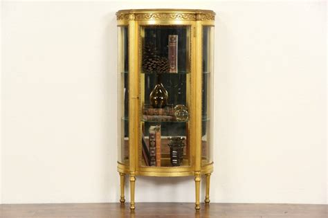 curved glass curio cabinet 1910 antique gold leaf curved glass vitrine curio