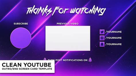 Clean Outro End Screen Card Photoshop Template Free Youtube End Screen Template