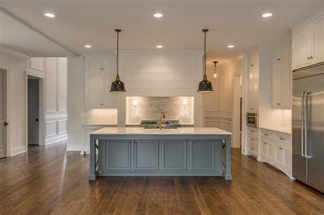 Marble Topped Kitchen Island Gray Kitchen Island With Vintage Bronze Bell Jar Pendants