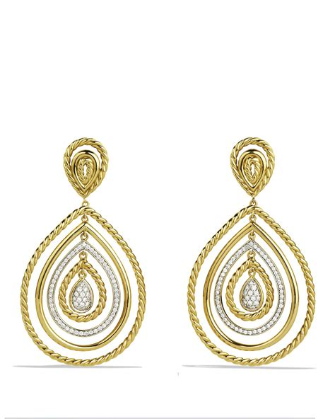 david yurman cable classics drop earrings with diamonds in