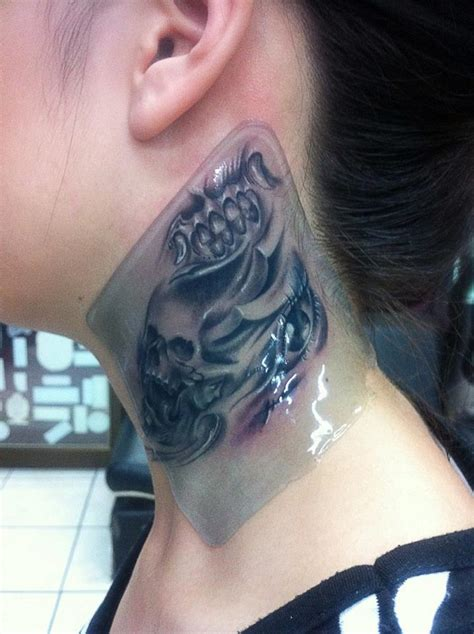 biomechanical neck tattoo neck tattoo images designs