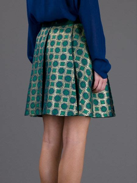 kenzo high waisted pleated skirt in green lyst