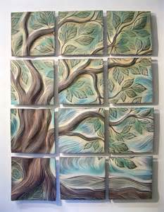 Kitchen Tile Murals Backsplash sculptural wall tiles tree of life design residential