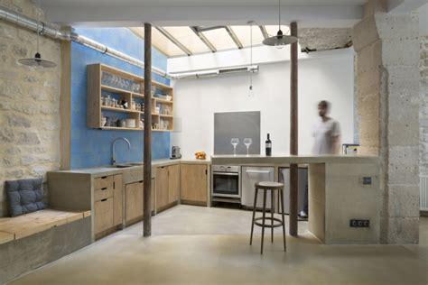 駘駑ent de cuisine cuisine de loft en bois brut