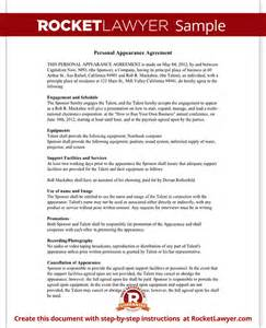 personal appearance contract agreement free form with sample