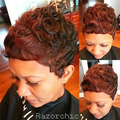 pin curl styles razor chic bronze curls by razor chic salon short jazzy hair