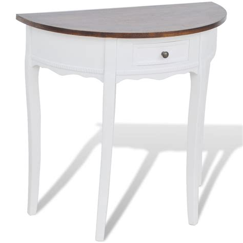 entryway console table white and oak half moon white oak wood foyer table with single drawer of
