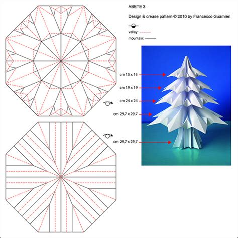 Origami Fir Tree - abete 3 fir tree 3 crease pattern flickr photo