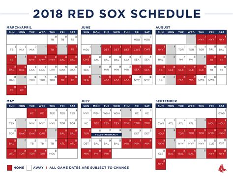 Red Sox Printable Schedule | red sox mlb release 2018 regular season schedule 171 cbs boston