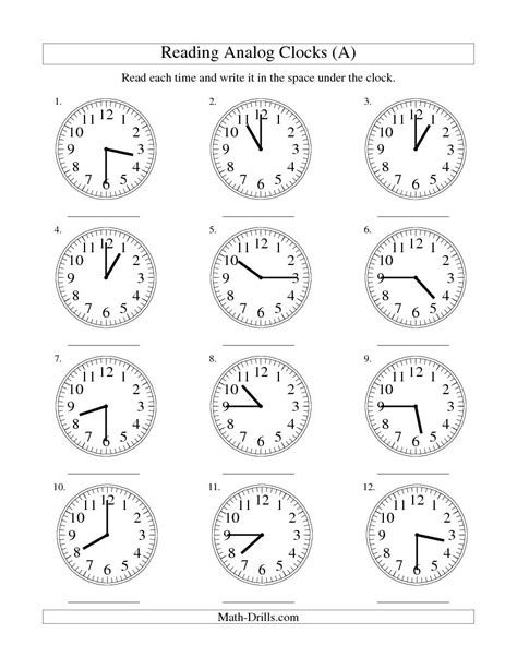 clock worksheets reading time on an analog clock in 15
