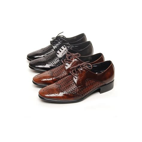 mens black wing tip punching mesh lace up dress shoes made in korea us 6 5 10 5