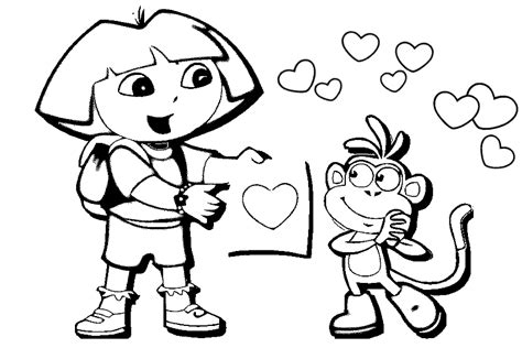 dora valentine coloring pages coloring pages dora and boots az coloring pages