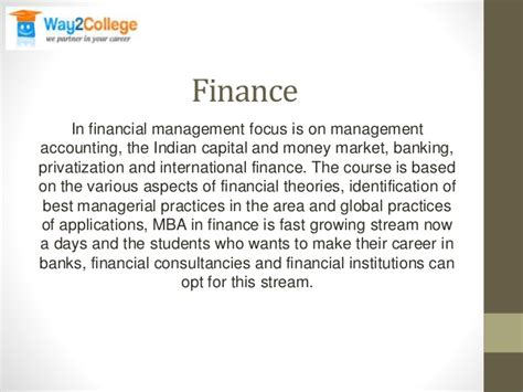 Mba In Financial Markets by Mba And Its Various Streams