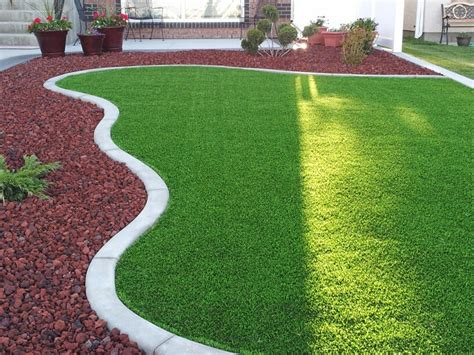 backyard turf finished front yard synthetic grass lava rock yard