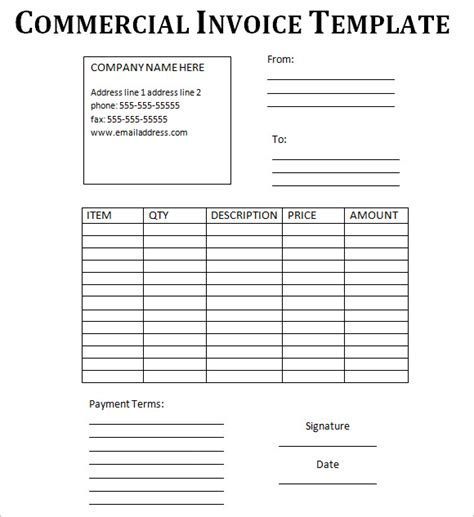 commercial invoice template fee download pdf