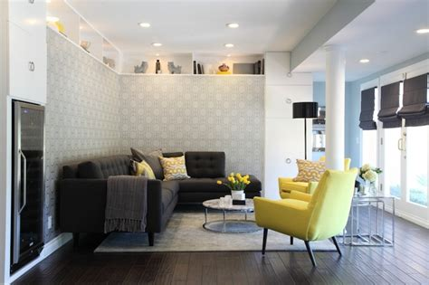 yellow  gray living room contemporary living room