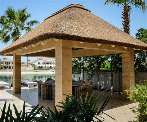 modern gazebo modern thatched gazebo with concrete pillars outdoor