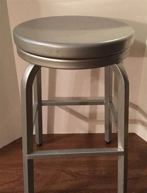 brushed aluminum navy backless swivel bar stool at brushed aluminum backless swivel 24 quot counter stools indoor