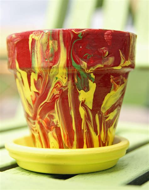 marbled pottery painting family crafts