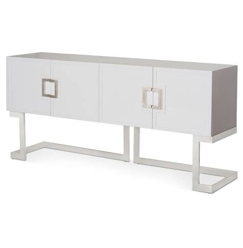 White Lacquer Media Cabinet by Emmett Regency White Lacquer Steel Media Console