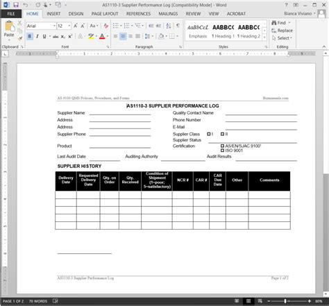 supplier audit schedule template supplier performance log as9100 template as1110 3