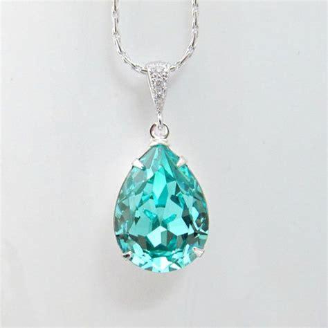 Green Chandelier Crystals Teal Blue Bridal Necklace Swarovski Crystal Light