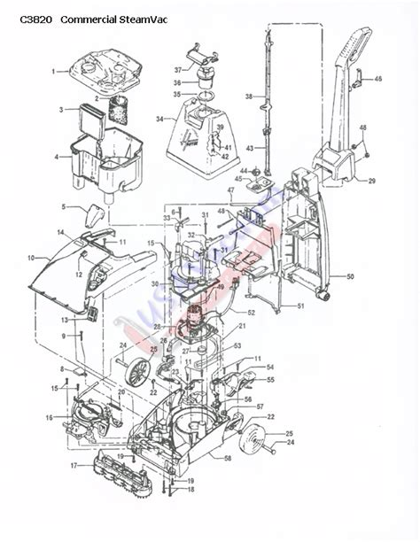 hoover steamvac parts diagram hoover c3820 steamvac spotter carpet washer parts list