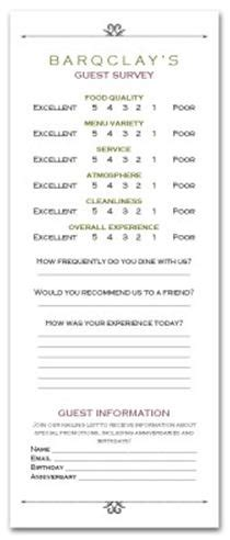 Hotel Comment Card Template Pdf by Design Of The Week Market Cafe Comment Card