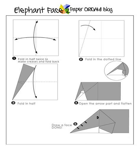 Elephant Origami Diagram - easy origami elephant for paper origami guide